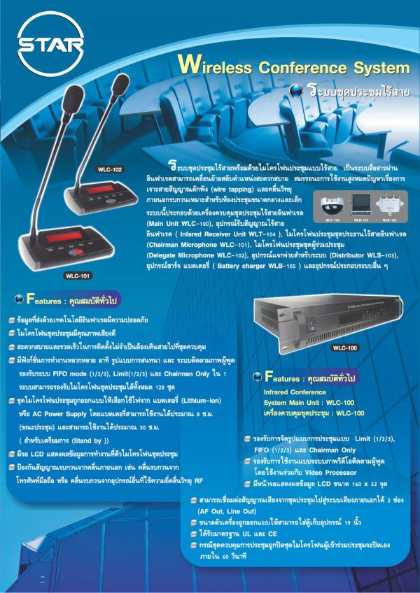 ไมค์ประชุมไร้สาย STAR รุ่น WLC-100 คุณภาพสูง ได้รับมาตรฐาน UL และ CE รับประกัน 2 ปี ไมนิคส์ ขอนแก่น ไมโครโฟนประชุมไร้สาย ชุดประชุมไร้สาย Wireless Conference ขอนแก่น ไมนิคส์